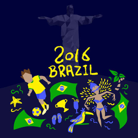latin american girls: Brazil flag with 2016 text, great for your design