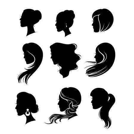 hair styling: vector set of woman silhouette with hair styling