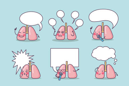 human lungs: Happy lung cartoon with billboard, great for health care concept