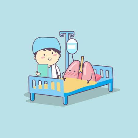 intravenous drip: cute cartoon lung and doctor, great for health care concept
