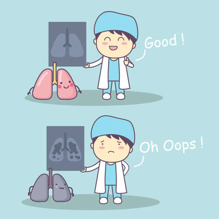 healthy lungs: cute cartoon doctor with lung x-rays, great for health care concept