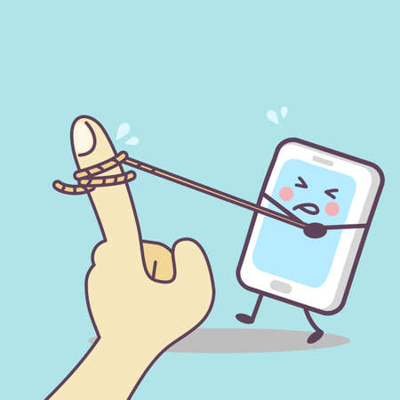 cell phone addiction: cute cartoon cellphone tug-of-war with finger, great for your technology concept design