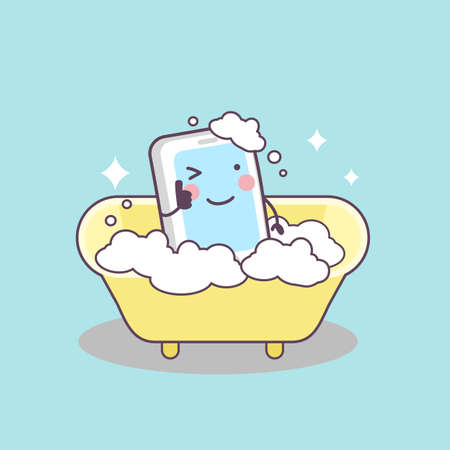 taking shower: cute cartoon cellphone taking shower , great for your design