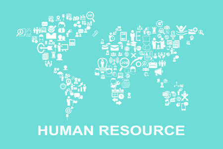 resources: Business Human resource concept - icon with world map Illustration