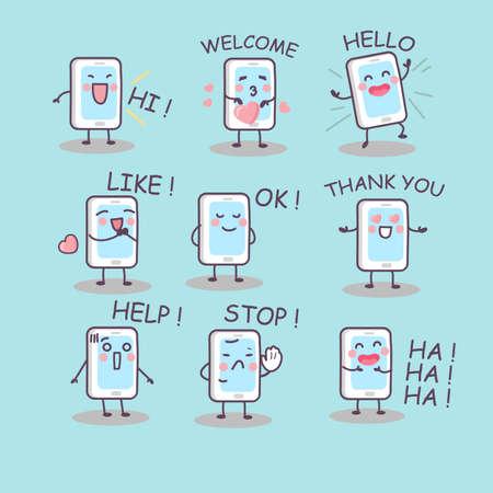 ha: all kinds of smartphone emotion, great for technology concept design Illustration
