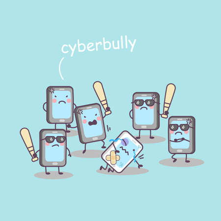 cellphone: cute cartoon cellphone bully, great for technology concept design Illustration