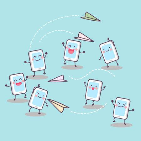 avion caricatura: Concepto de multimedia Scoial - tel�fono m�vil linda de la historieta que juega el aeroplano de papel y enviar mensajes el uno al otro Vectores