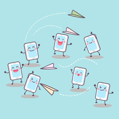 paper airplane: Scoial media concept - cute cartoon cellphone playing paper airplane and send message to each other