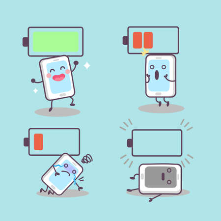 great: cute cartoon smartphone with battery, great for technology concept design Illustration