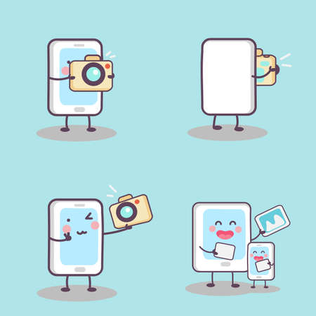 photograph: cute cartoon phone take selfie with tablet pc, great for  technology photograph concept Illustration
