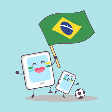cellphone: Brazil flag with cellphone and digital tablet pc, great for your design