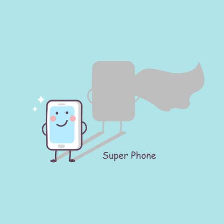 cellphone: cute cartoon super phone, great for technology concept design