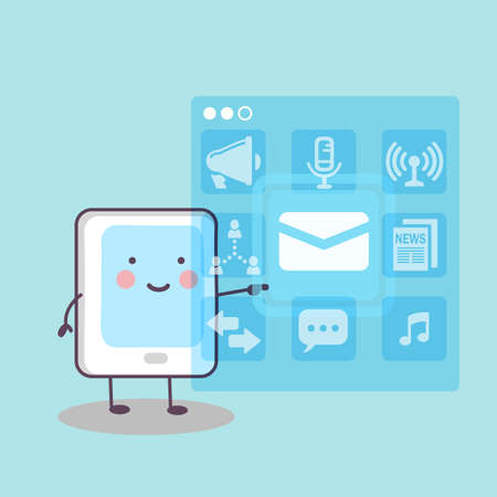 digital tablet: cute cartoon digital tablet pc touch icon, great for technology concept design Illustration
