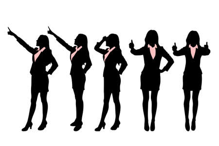 fullbody: Silhouettes of Business women standing with different hand gesture