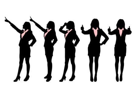 siluetas mujeres: Siluetas de las mujeres de negocios de pie con diferentes gesto de la mano Vectores