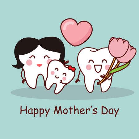 diente caricatura: Diente de la historieta con el Día de la Madre Feliz, gran concepto de cuidado dental de la salud