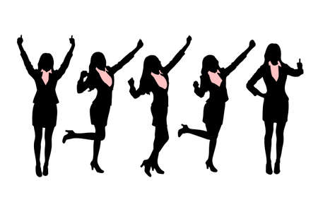 raise the thumb: Silhouettes of Business women standing with different hand gesture
