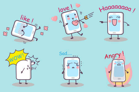 cellphone: cute cartoon phone set, great for your design