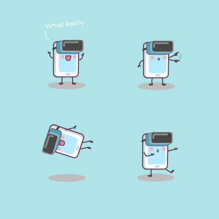 cellphone: cartoon phone with virtual reality -great for your technology concept