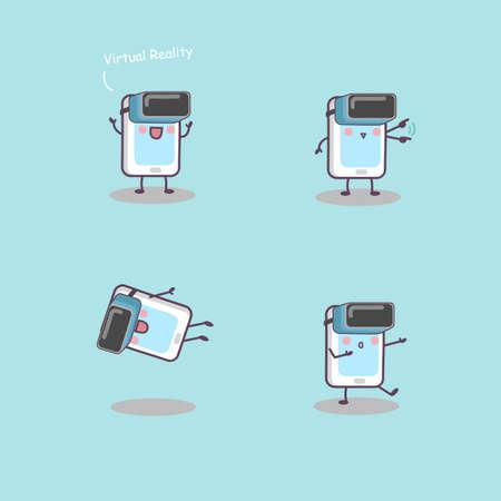 caricatura: teléfono de la historieta con -gran realidad virtual para su concepto de la tecnología