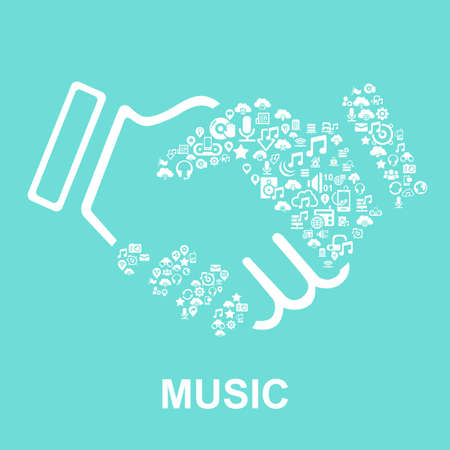 earpieces: Music concept-Music icon connect together Illustration