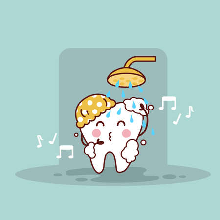taking shower: cute cartoon tooth taking shower, great for health dental care concept