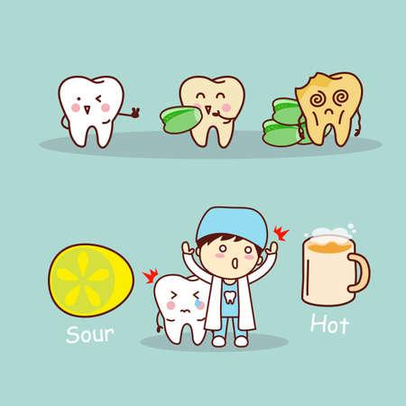 sensitive: cute cartoon sensitive tooth, great for health dental care concept