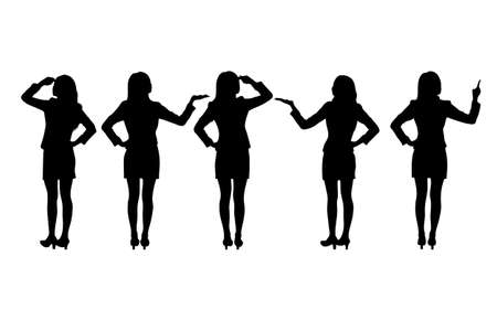 silhouette of women: Silhouettes of Business women standing