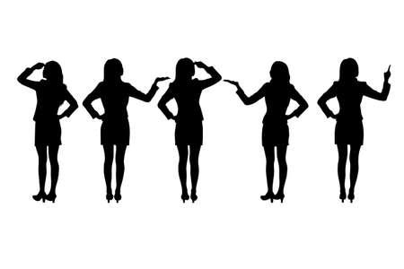 siluetas mujeres: Siluetas de las mujeres de negocios de pie
