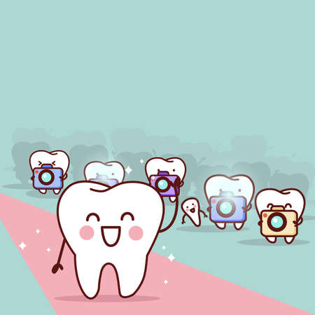 paparazzi: cartoon tooth with paparazzi,great for health dental care concept