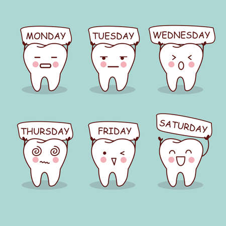 funny doctor: cartoon tooth expression with week, great for health dental care concept Illustration