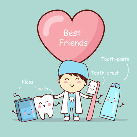 muela caricatura: lindo mejores amigos de dientes de dibujos animados, grandes para el concepto de cuidado dental de la salud