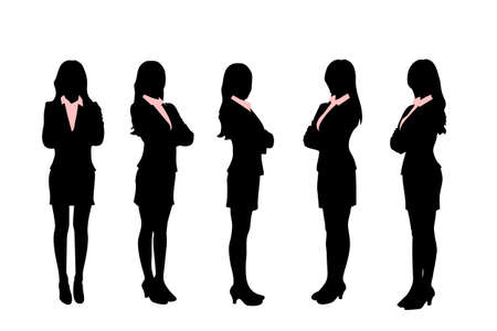 full length woman: Silhouettes of Business women standing with different pose