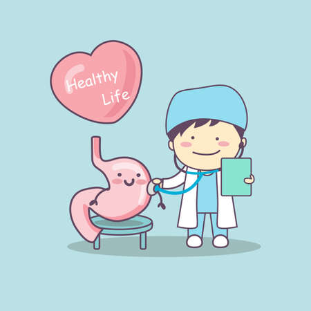 gut: cute cartoon doctor check stomach , great for health life concept