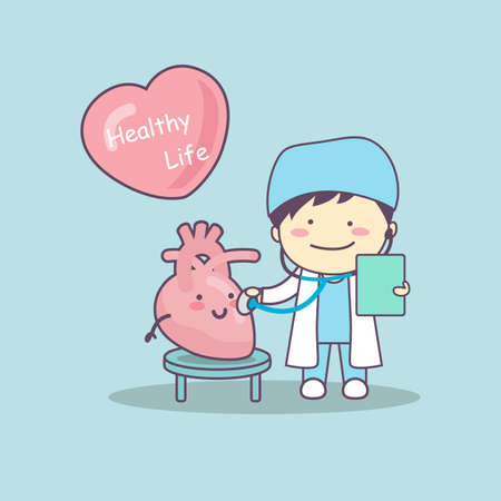 health check: cute cartoon doctor check heart , great for health life concept