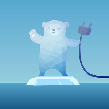 polar environment: low poly Polar bear  on the iceberg with plug, great for environment concept Illustration