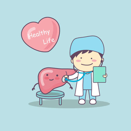 health check: cute cartoon doctor check liver , great for health life concept