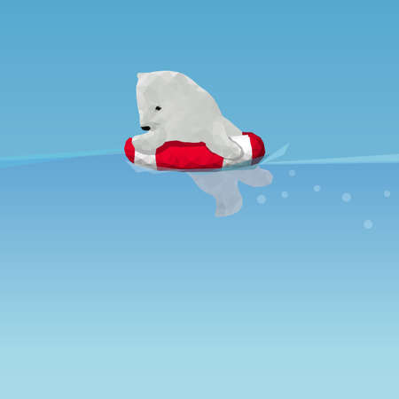 polar environment: low poly Polar bear  swimming by lifesaver in the ocean, great for environment concept Illustration