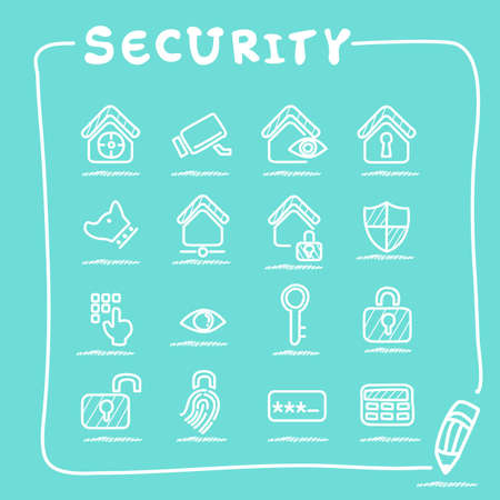 home security: Home security concept icon set - doodle Series Illustration