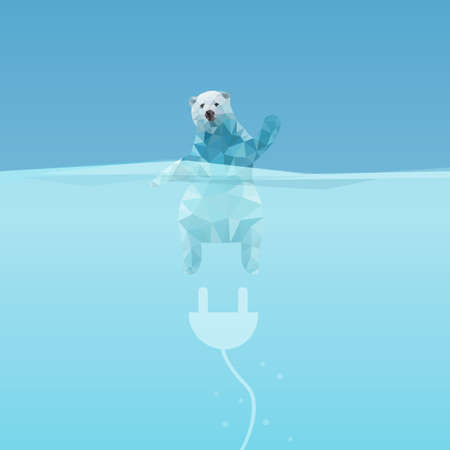 polar environment: low poly Polar bear  in the sea with plug, great for environment concept