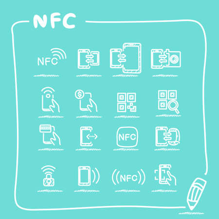 nfc: NFC technolgy icon set collection - doodle Series Illustration