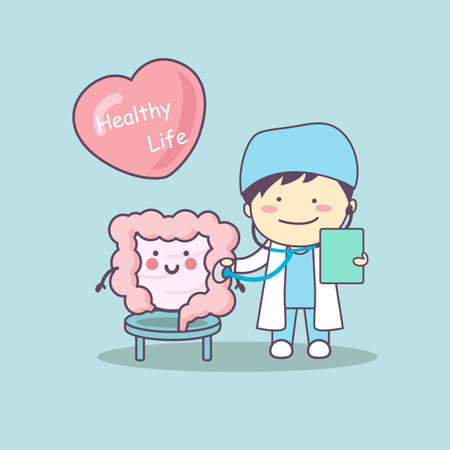 ileum: cute cartoon doctor check intestine, great for health life concept