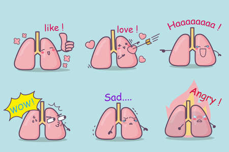 ha: cute cartoon lung set,great for your design Illustration