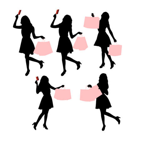 paperbag: Silhouettes of shopping women hoding their paperbag and credit card