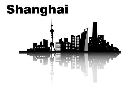 shanghai skyline: Shanghai city skyline - great for your design