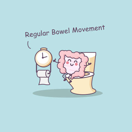 ileum: Cute cartoon intestine need regular bowel movement- great for health care concept