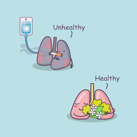 intravenous drip: cute cartoon healthy and unhealthy lung, great for health care concept