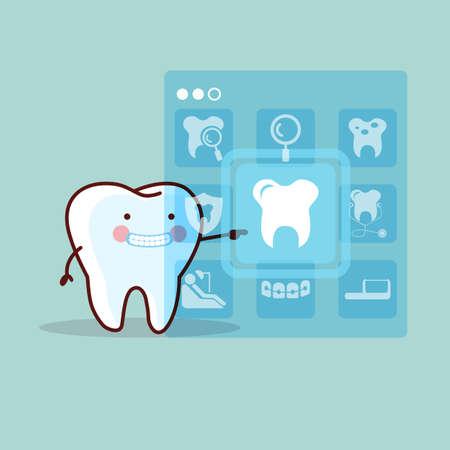 higiene oral: lindo icono de contacto de los dientes de dibujos animados, de gran dise�o concepto de atenci�n dental Vectores