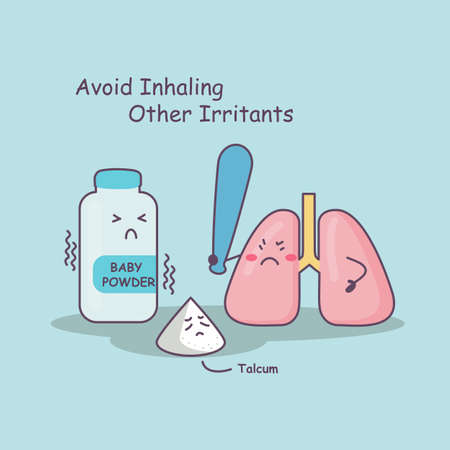 inhaling: cute cartoon lung holding bat against baby powder and talcum, avoid inhaling other irritants,great for health care concept