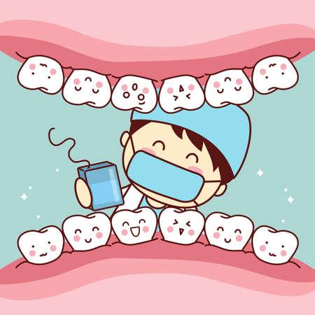 personas enfermas: hilo de dibujos animados lindo m�dico dentista utilizar para limpiar los dientes, gran concepto de cuidado dental de la salud Vectores